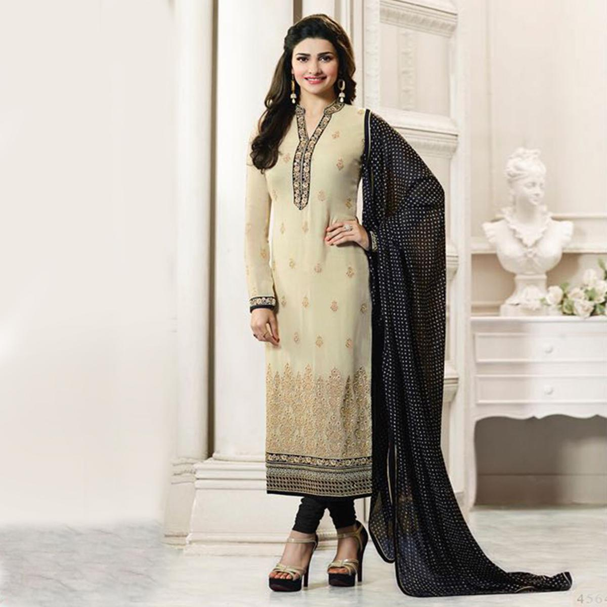 Beige - Black Collar Neck Straight Suit