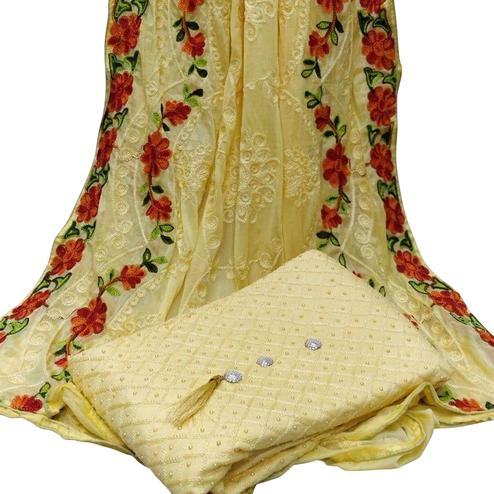 Flamboyant Yellow Colored Partywear Embroidered Modal Dress Material