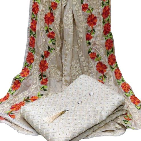 Mesmeric Off White Colored Partywear Embroidered Modal Dress Material