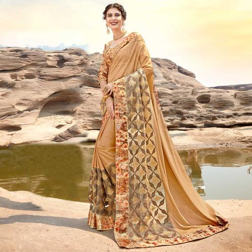 Marvellous Beige Colored Partywear Printed Lycra & Net Saree