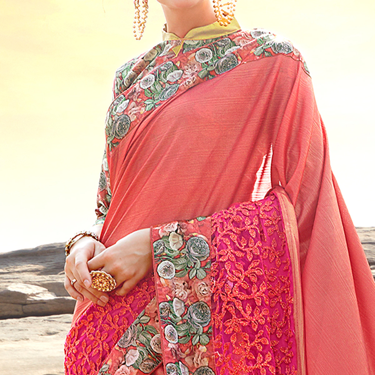 Excellent Pink Colored Partywear Printed Lycra & Net Saree