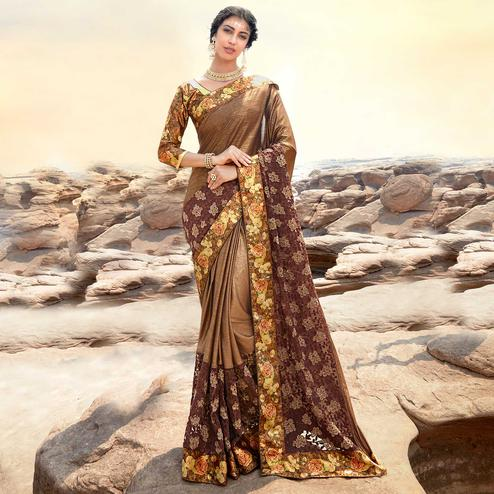 Hypnotic Brown Colored Partywear Printed Lycra & Net Saree