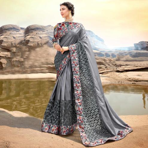 Demanding Grey Colored Partywear Printed Lycra & Net Saree