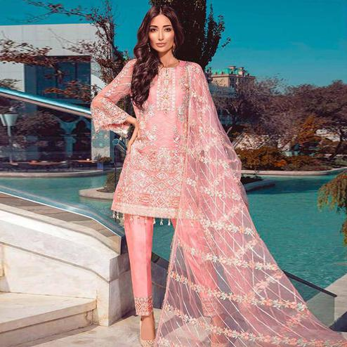 Preferable Pink Colored Partywear Embroidered Net Pant Style Suit