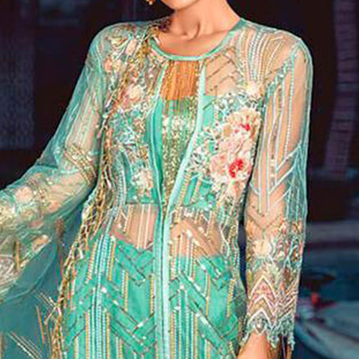 Flamboyant Turquoise Green Colored Partywear Embroidered Net Pant Style Suit