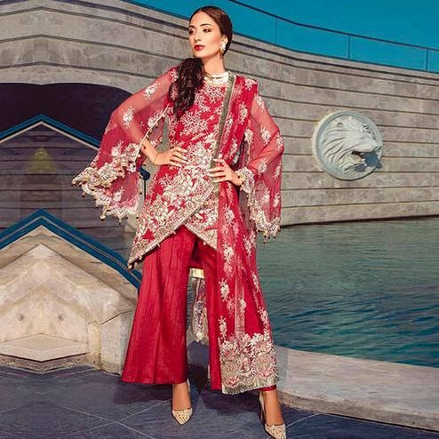 Marvellous Red Colored Partywear Embroidered Georgette Palazzo Suit