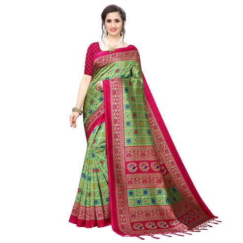 Exceptional Green Colored Festive Wear Printed Art Silk Saree