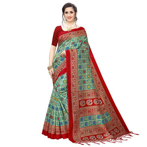 Mesmeric Aqua Blue Colored Festive Wear Printed Art Silk Saree