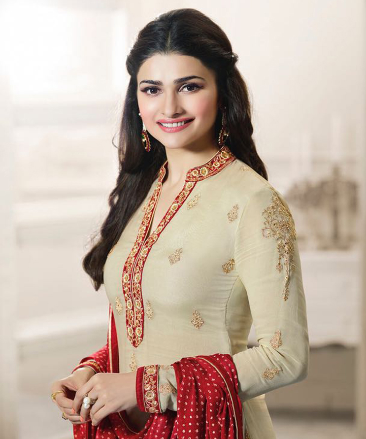 Beige - Red Embroidered Work Straight Suit