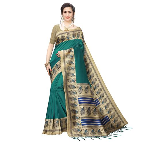 Flattering Dark Turquoise Green Colored Festive Wear Printed Art Silk Saree