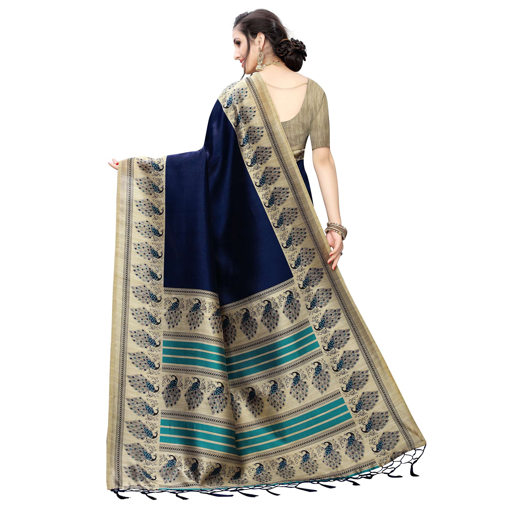 Excellent Navy Blue Colored Festive Wear Printed Art Silk Saree