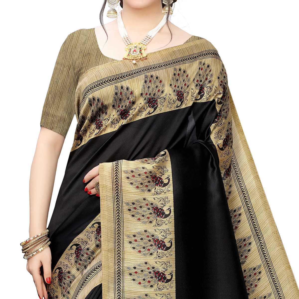Ideal Black Colored Festive Wear Printed Art Silk Saree