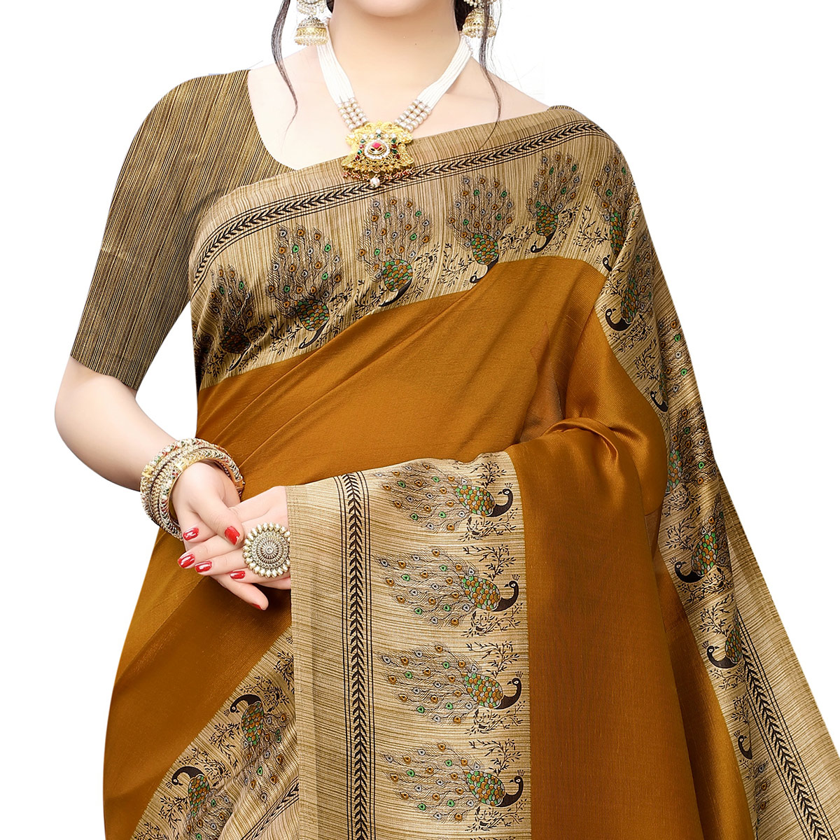 Imposing Mustard Yellow Colored Festive Wear Printed Art Silk Saree