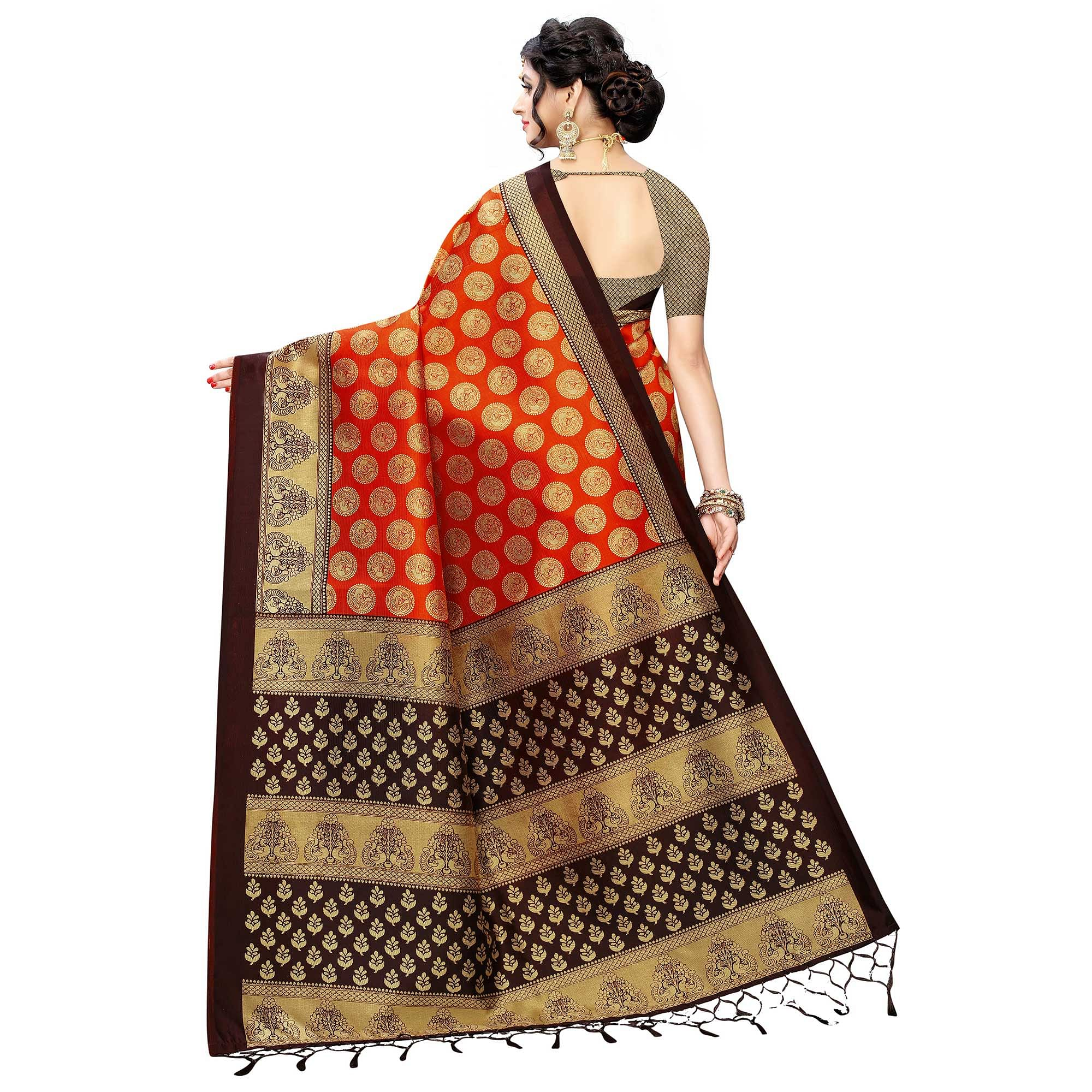 Lovely Red Colored Festive Wear Printed Art Silk Saree