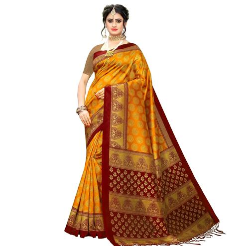 Majesty Orange Colored Festive Wear Printed Art Silk Saree