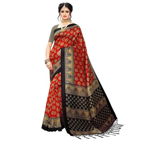 Impressive Dark Red Colored Festive Wear Printed Art Silk Saree
