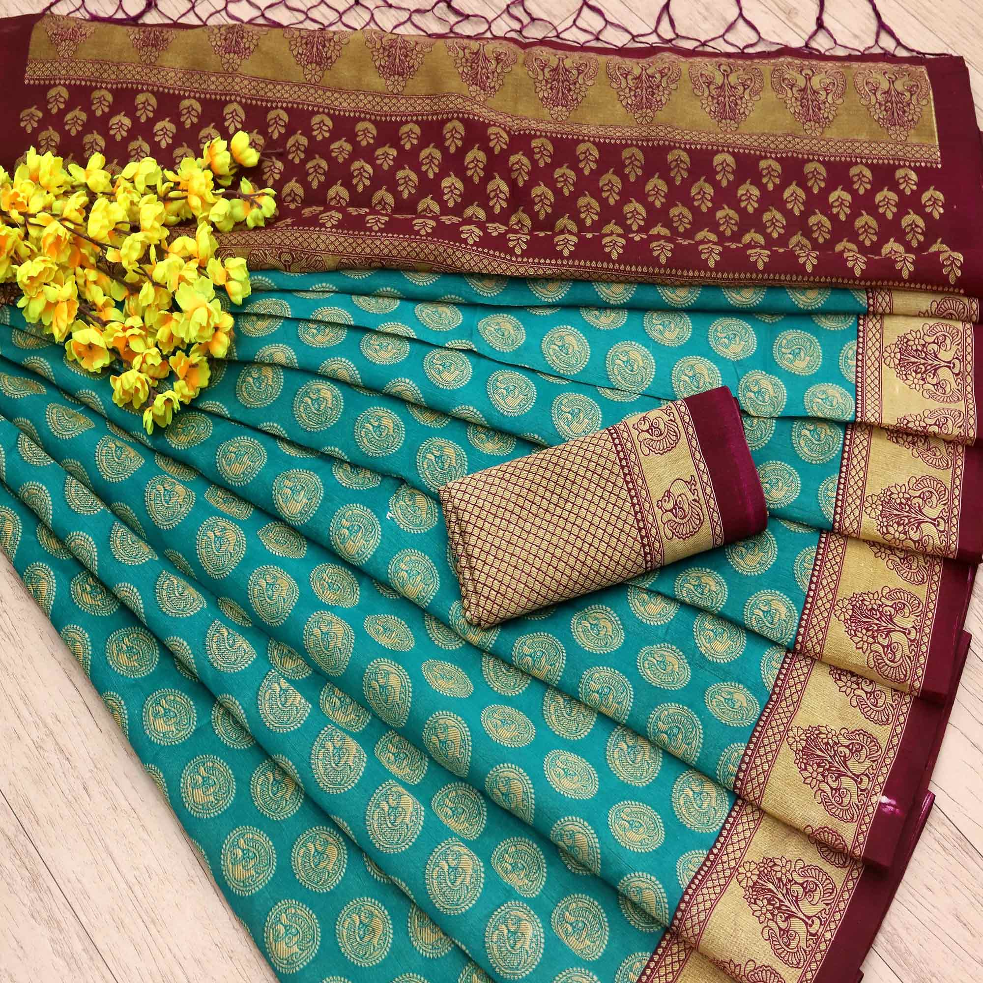 Exotic Turquoise Green Colored Festive Wear Printed Art Silk Saree