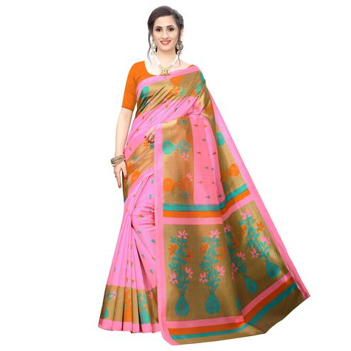 Arresting Light Pink Colored Casual Wear Printed Art Silk Saree