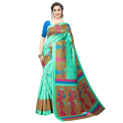Exotic Aqua Green Colored Casual Wear Printed Art Silk Saree