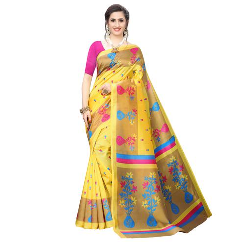 Trendy Yellow Colored Casual Wear Printed Art Silk Saree