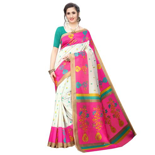 Radiant White-Pink Colored Casual Wear Printed Art Silk Saree