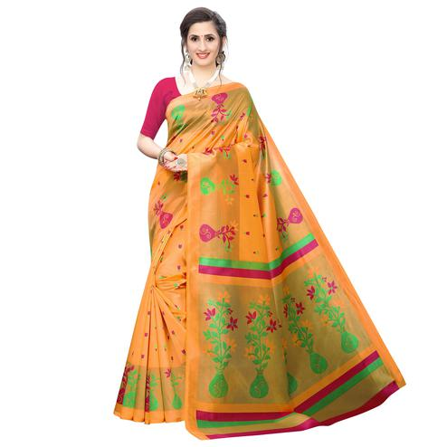 Exceptional Light Orange Colored Casual Wear Printed Art Silk Saree