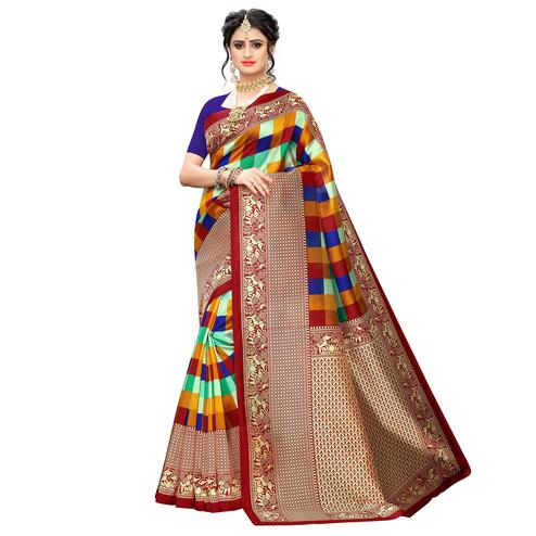 Gleaming Red-Multi Colored Casual Wear Printed Art Silk Saree