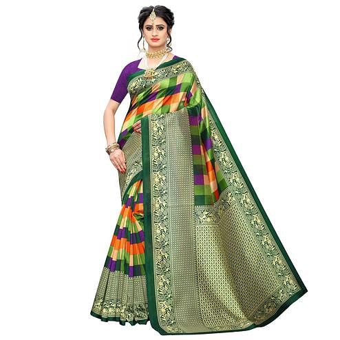 Unique Green-Multi Colored Casual Wear Printed Art Silk Saree
