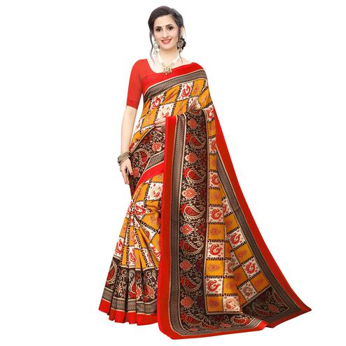 Intricate Orange Colored Casual Wear Peacock Printed Art Silk Saree