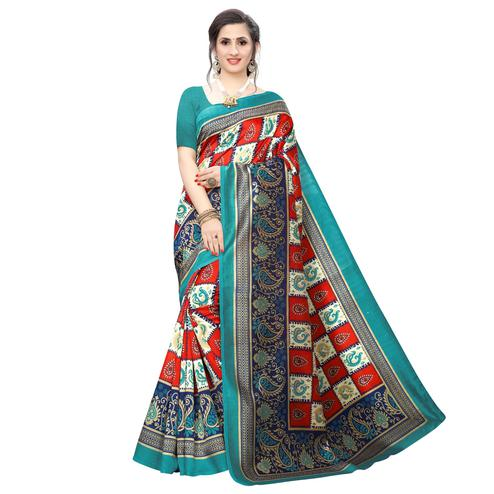 Arresting Red Colored Casual Wear Peacock Printed Art Silk Saree