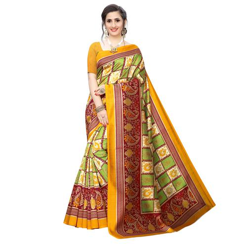 Desirable Green Colored Casual Wear Peacock Printed Art Silk Saree