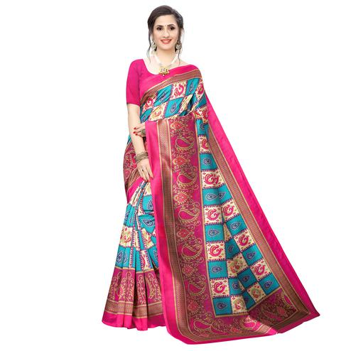 Exotic Sky Blue Colored Casual Wear Peacock Printed Art Silk Saree