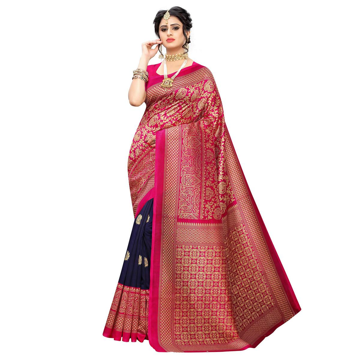 Sophisticated Pink-Navy Blue Colored Casual Wear Floral Printed Art Silk Saree