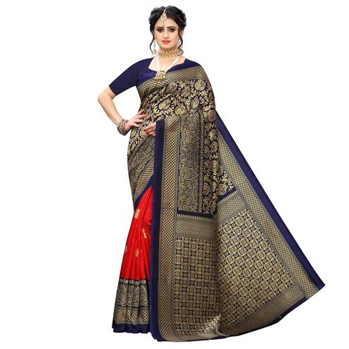 Trendy Navy Blue-Red Colored Casual Wear Floral Printed Art Silk Saree