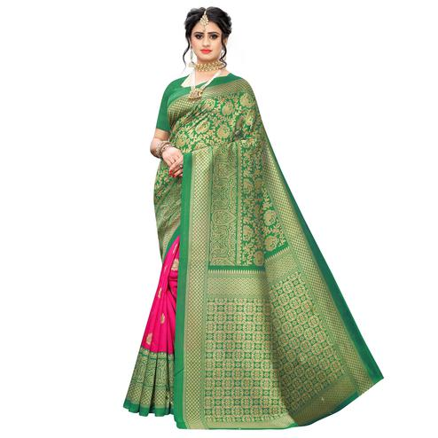 Elegant Green-Pink Colored Casual Wear Floral Printed Art Silk Saree