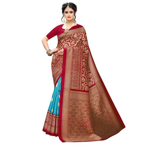 Radiant Maroon-Sky Blue Colored Casual Wear Floral Printed Art Silk Saree