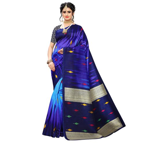 Pleasant Blue Colored Casual Wear Printed Art Silk Saree
