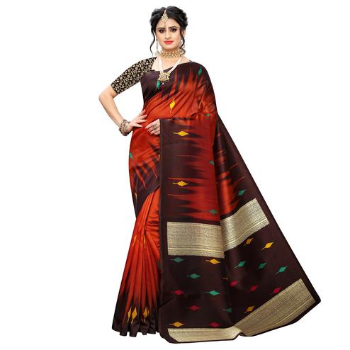 Opulent Dark Orange Colored Casual Wear Printed Art Silk Saree