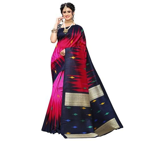 Energetic Pink-Red Colored Casual Wear Printed Art Silk Saree