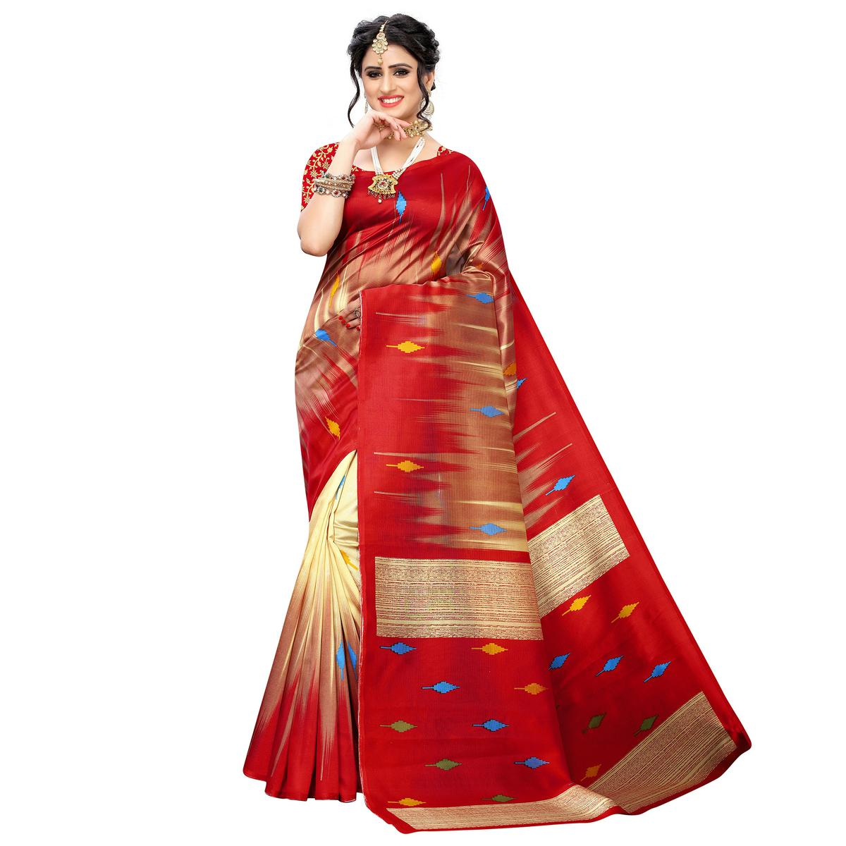 Exceptional Brown-Red Colored Casual Wear Printed Art Silk Saree