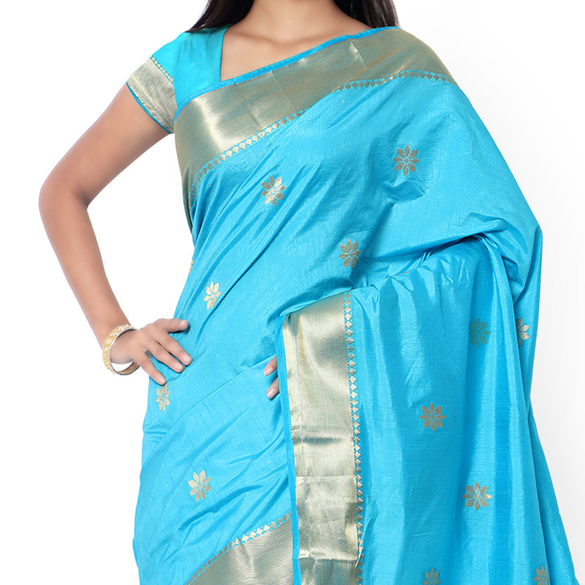Sky Blue Woven Silk Traditional Saree