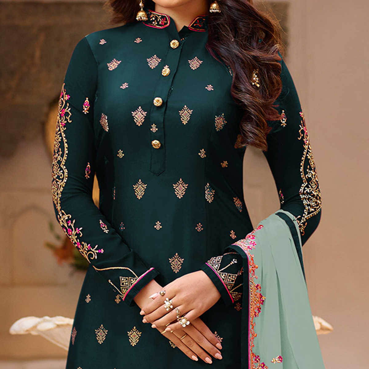 Engrossing Teal Green Colored Partywear Embroidered Georgette Suit