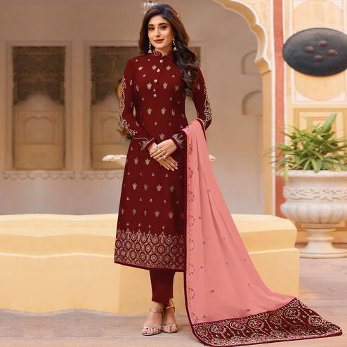 Captivating Maroon Colored Partywear Embroidered Georgette Suit
