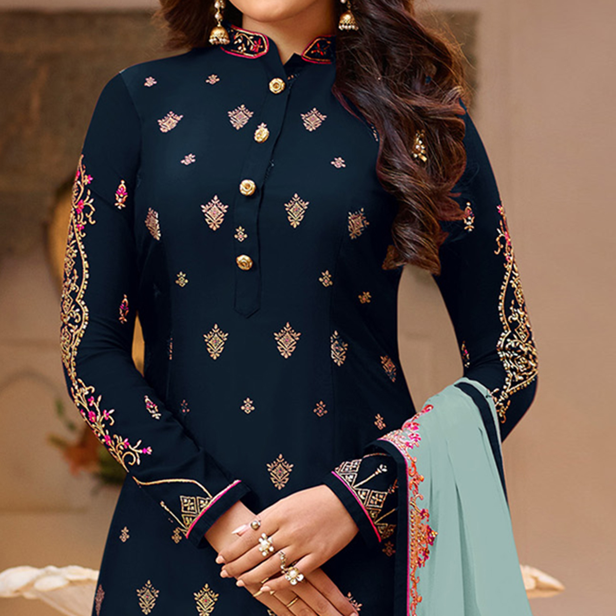 Eye-catching Navy Blue Colored Partywear Embroidered Georgette Suit