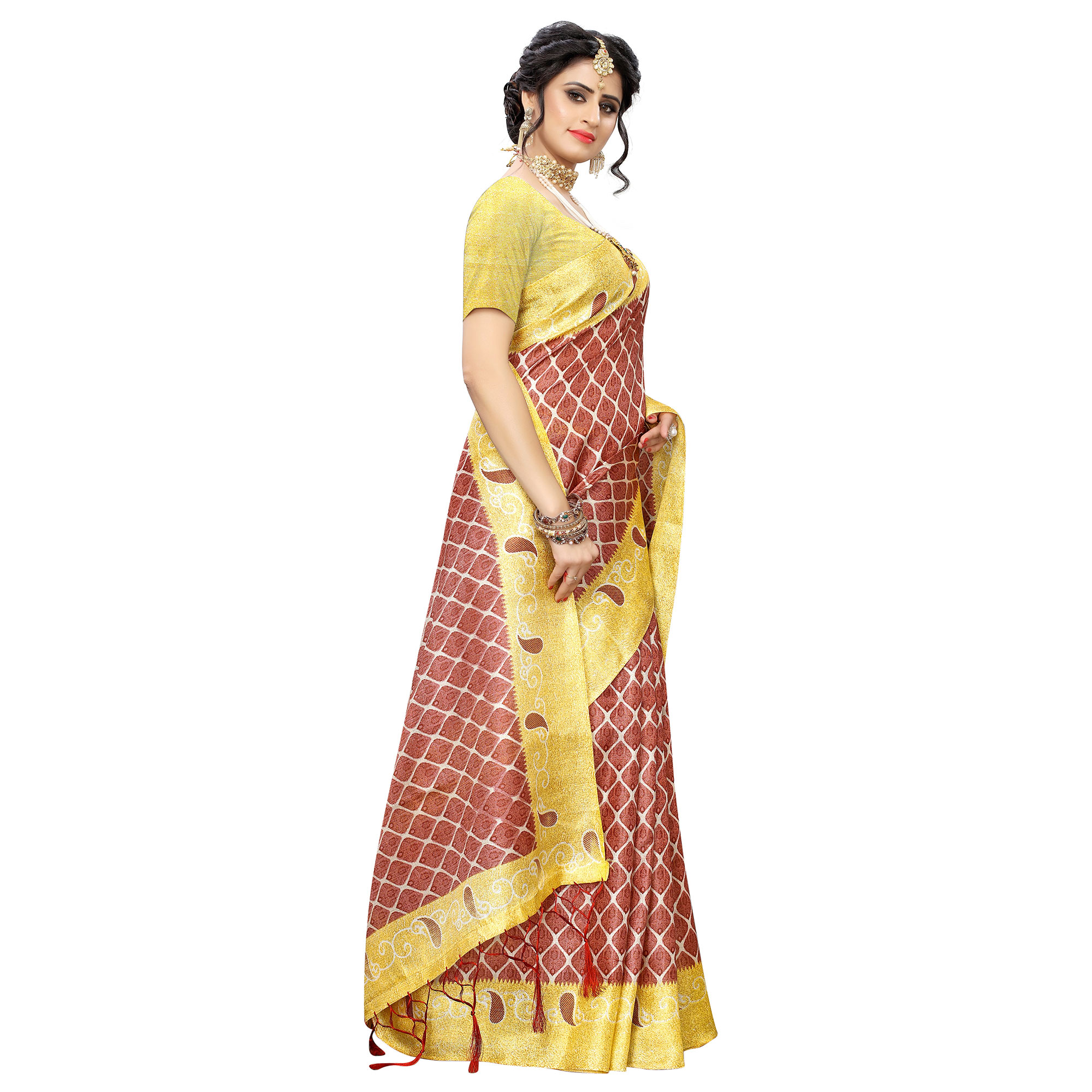 Adorable Brown Colored Casual Printed Art Silk Saree With Tassels