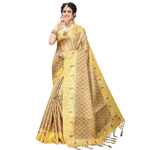 Glorious Chiku Colored Casual Printed Art Silk Saree With Tassels