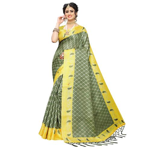Attractive Green Colored Casual Printed Art Silk Saree With Tassels