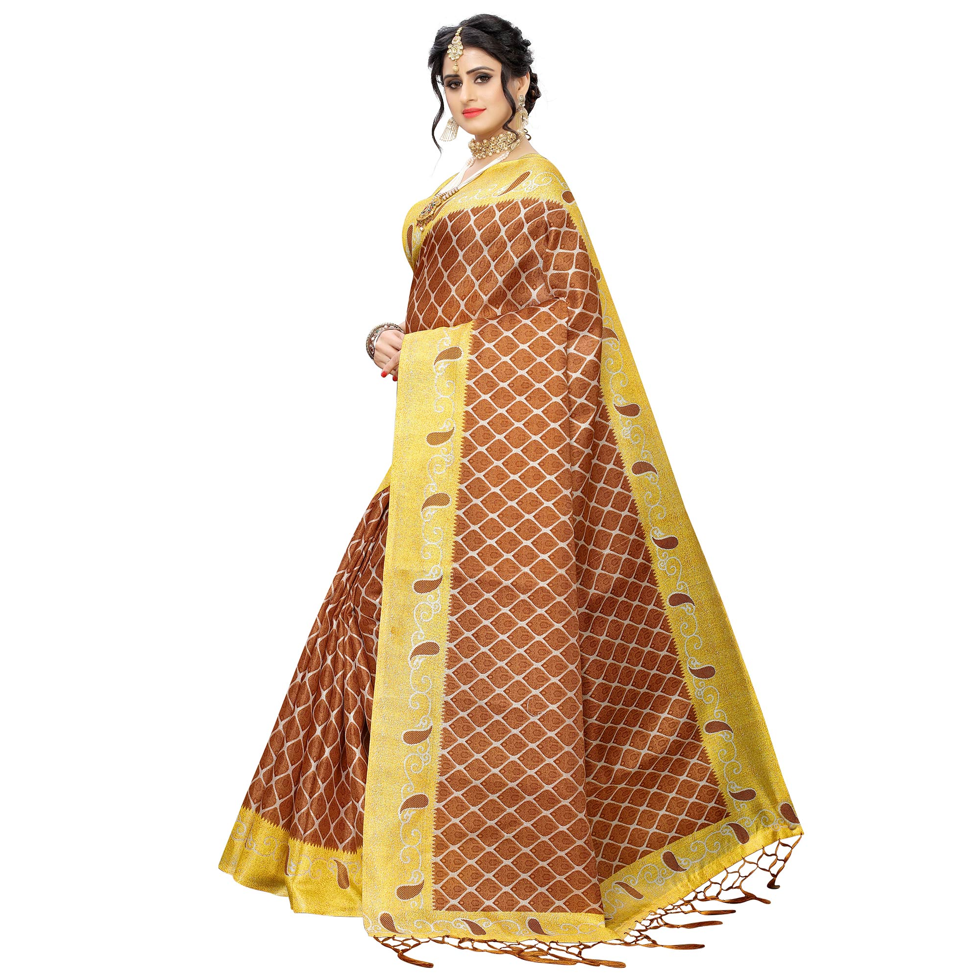 Beautiful Rust Orange Colored Casual Printed Art Silk Saree With Tassels