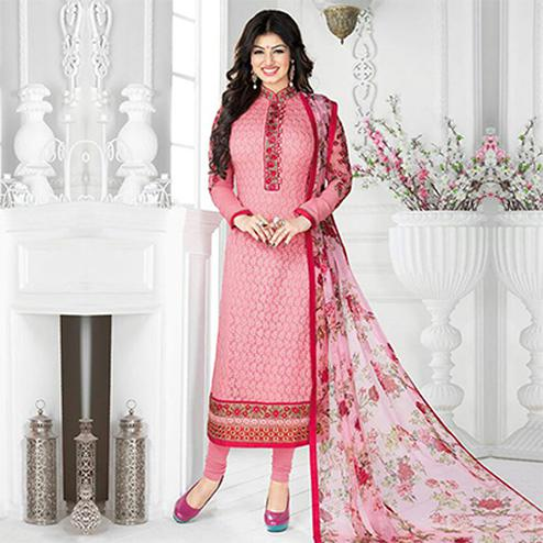 Pink High Neck Embroidered Suit