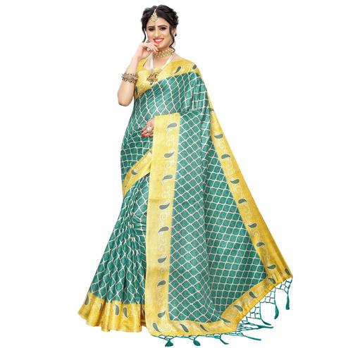 Graceful Rama Green Colored Casual Printed Art Silk Saree With Tassels